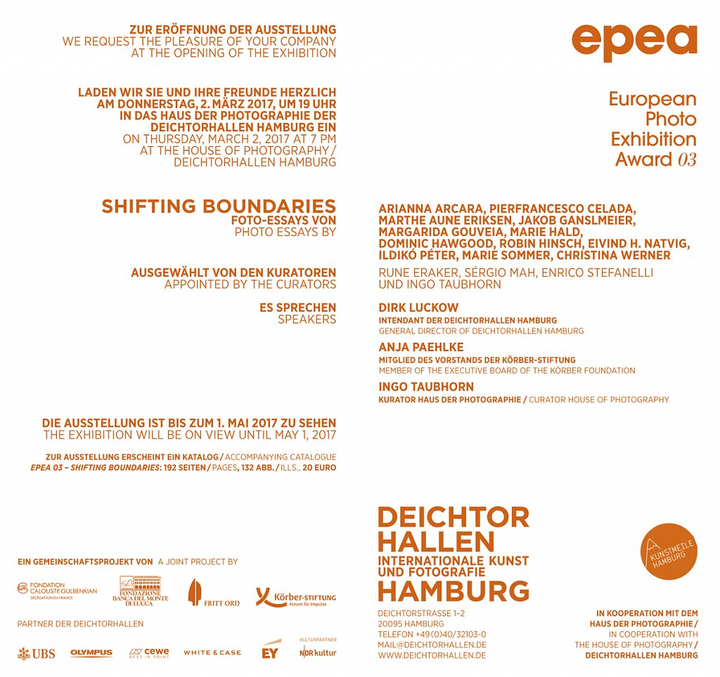 EPEA03 Shifting Boundaries group exhibition, Deichtorhallen, Hamburg, 2017.